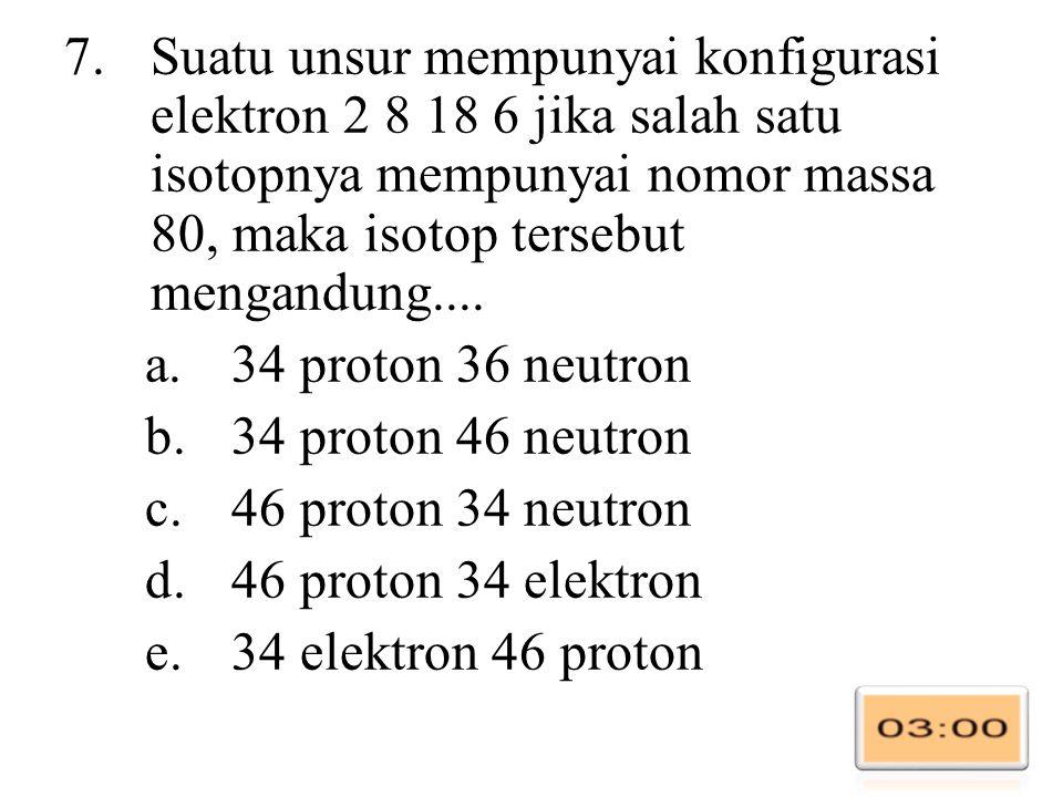 7.Suatu unsur mempunyai konfigurasi elektron 2 8 18 6 jika salah satu isotopnya mempunyai nomor massa 80, maka isotop tersebut mengandung....