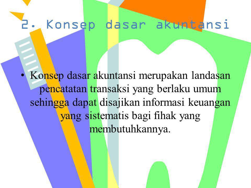 Konsep dasar tersebut adalah sebagai berikut : a.Konsep kesatuan usaha (Business Entity) b.