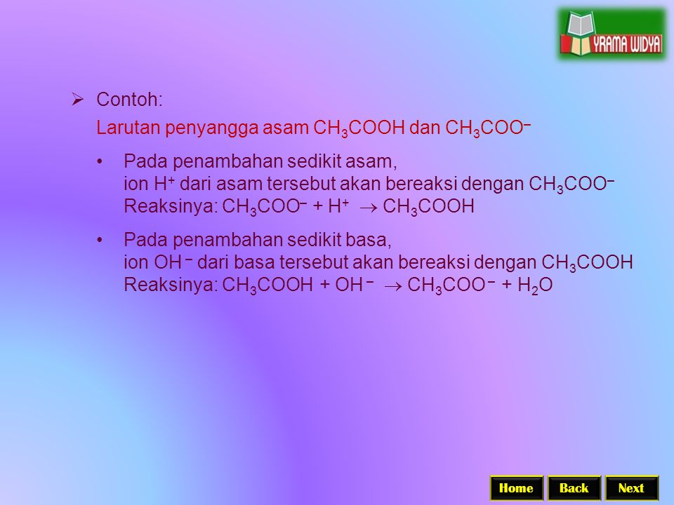 BackNextHome  Contoh: Larutan penyangga asam CH 3 COOH dan CH 3 COO – Pada penambahan sedikit asam, ion H + dari asam tersebut akan bereaksi dengan CH 3 COO – Reaksinya: CH 3 COO – + H +  CH 3 COOH Pada penambahan sedikit basa, ion OH – dari basa tersebut akan bereaksi dengan CH 3 COOH Reaksinya: CH 3 COOH + OH –  CH 3 COO – + H 2 O