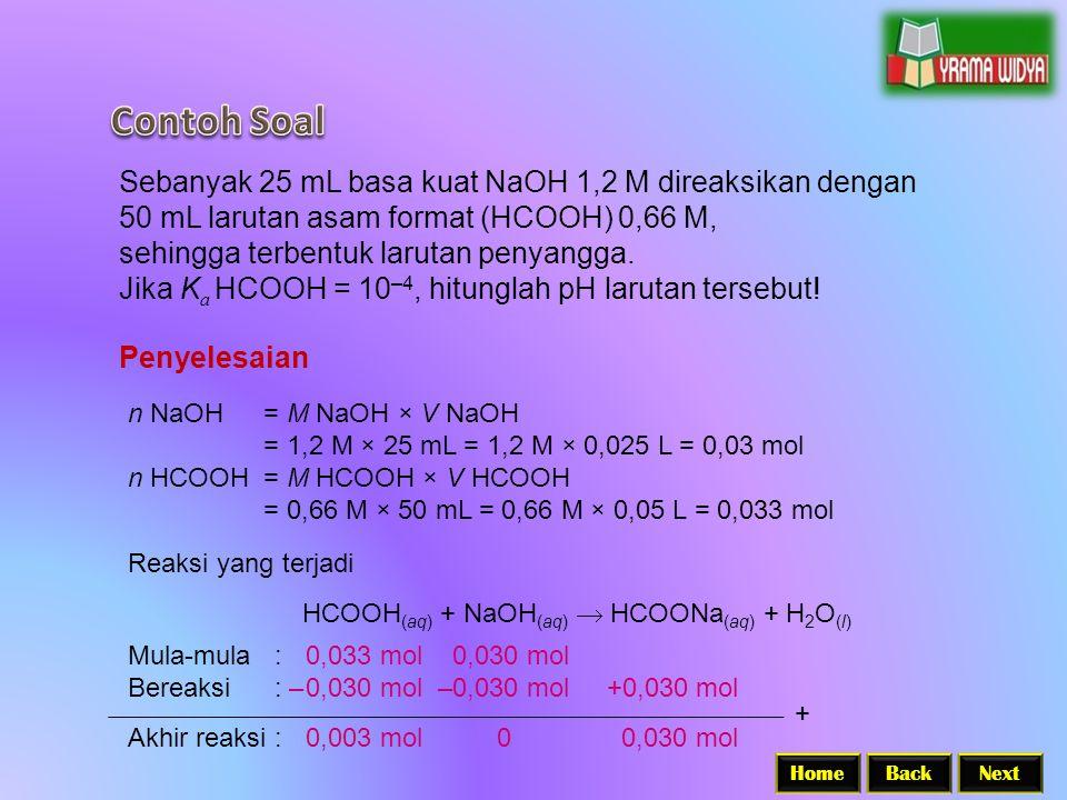 BackNextHome Sebanyak 25 mL basa kuat NaOH 1,2 M direaksikan dengan 50 mL larutan asam format (HCOOH) 0,66 M, sehingga terbentuk larutan penyangga.
