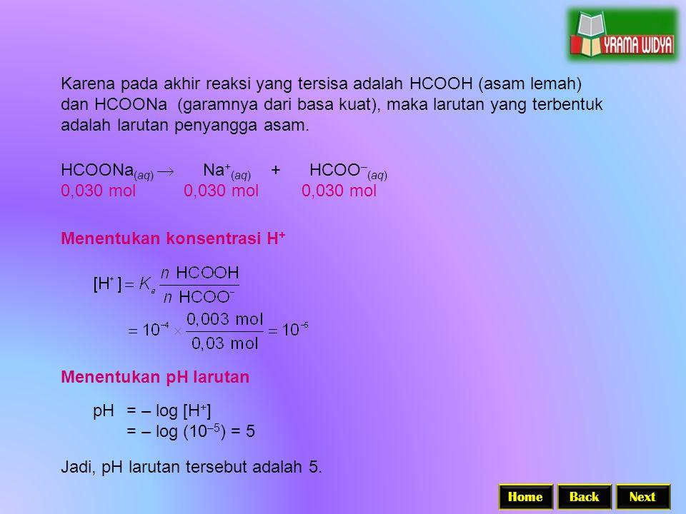 BackNextHome Karena pada akhir reaksi yang tersisa adalah HCOOH (asam lemah) dan HCOONa (garamnya dari basa kuat), maka larutan yang terbentuk adalah larutan penyangga asam.