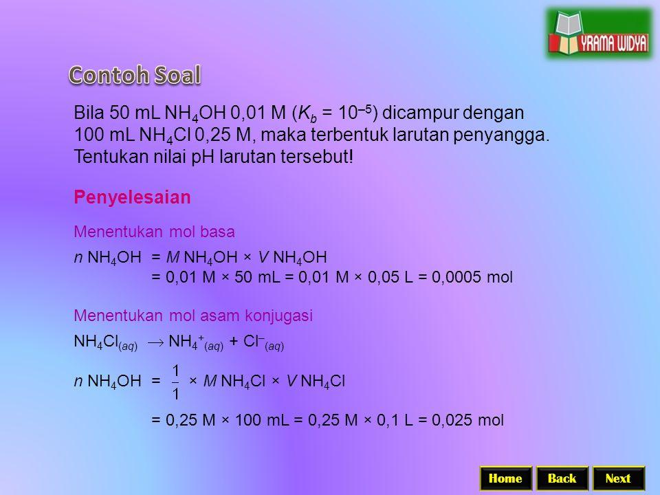 BackNextHome Bila 50 mL NH 4 OH 0,01 M (K b = 10 –5 ) dicampur dengan 100 mL NH 4 Cl 0,25 M, maka terbentuk larutan penyangga.