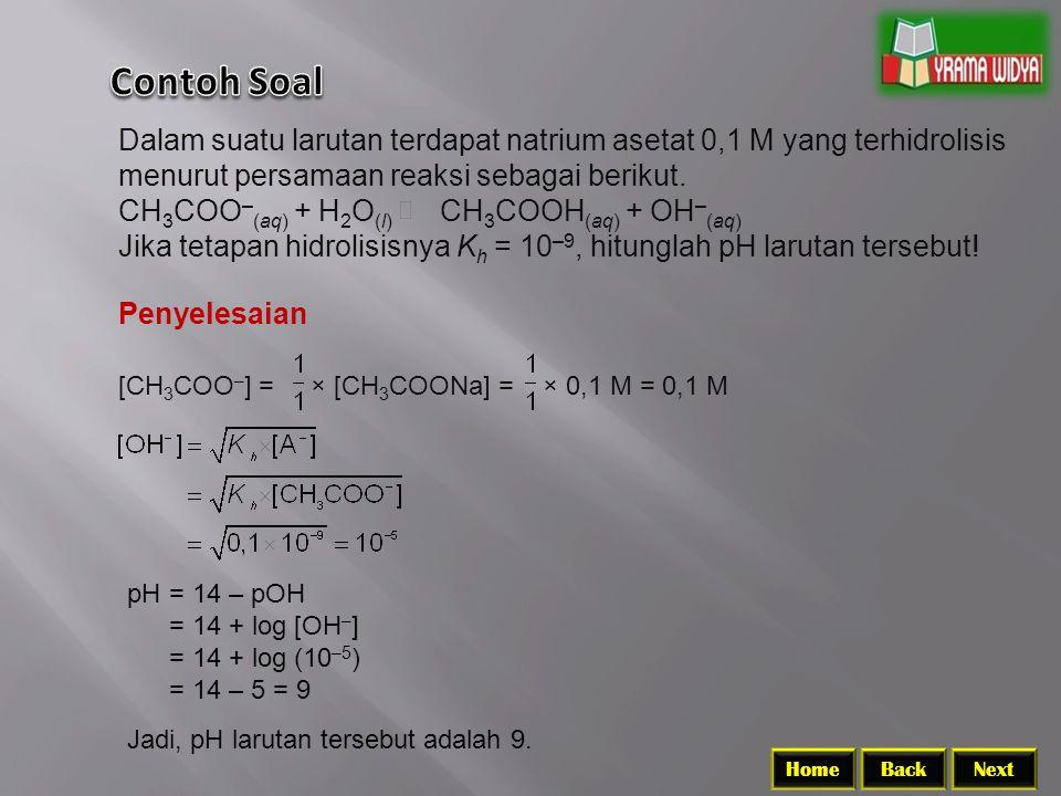 BackNextHome Dalam suatu larutan terdapat natrium asetat 0,1 M yang terhidrolisis menurut persamaan reaksi sebagai berikut.