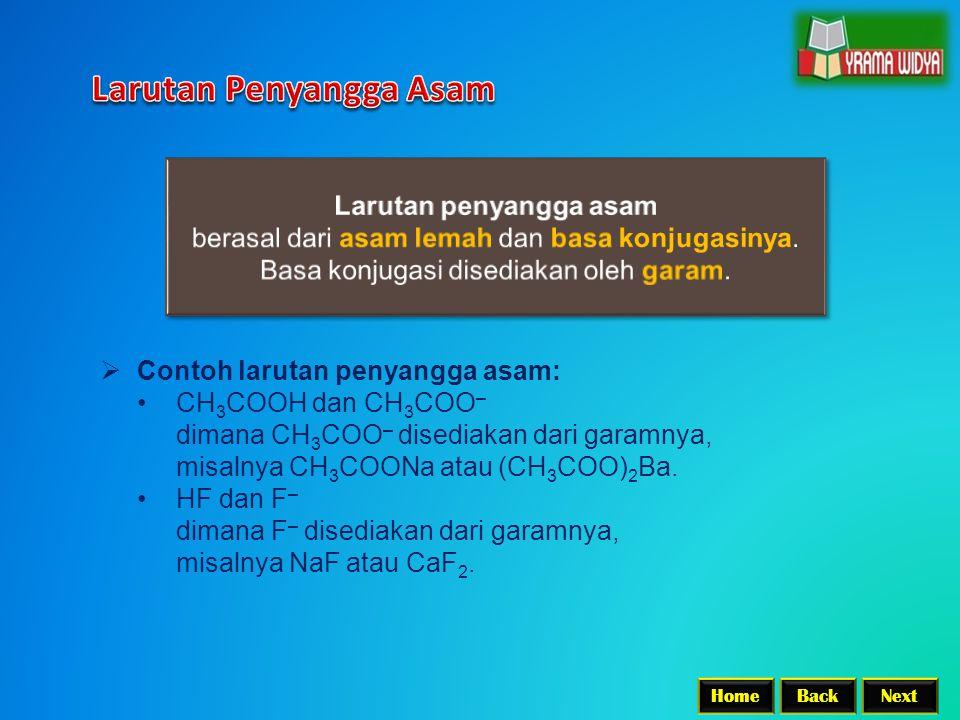 BackNextHome  Contoh larutan penyangga asam: CH 3 COOH dan CH 3 COO – dimana CH 3 COO – disediakan dari garamnya, misalnya CH 3 COONa atau (CH 3 COO) 2 Ba.