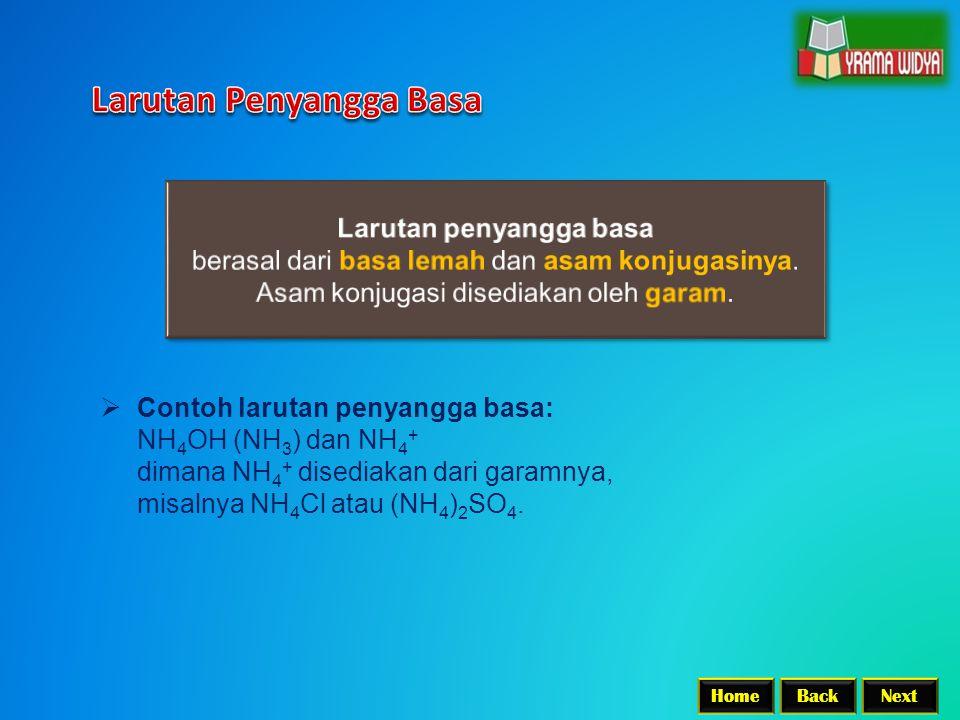 BackNextHome  Contoh larutan penyangga basa: NH 4 OH (NH 3 ) dan NH 4 + dimana NH 4 + disediakan dari garamnya, misalnya NH 4 Cl atau (NH 4 ) 2 SO 4.