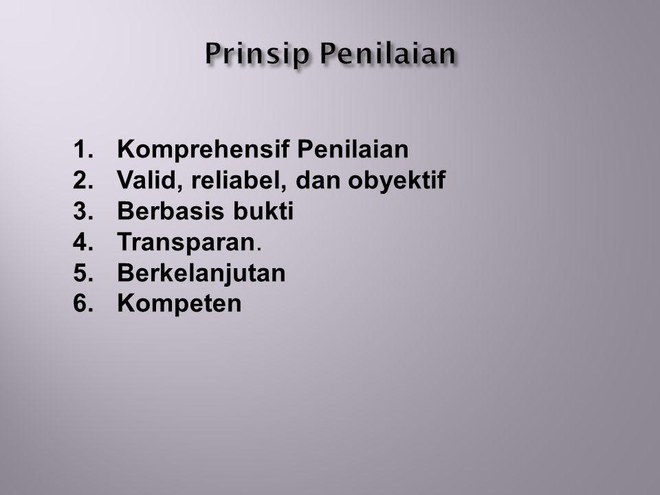 1.Komprehensif Penilaian 2. Valid, reliabel, dan obyektif 3.
