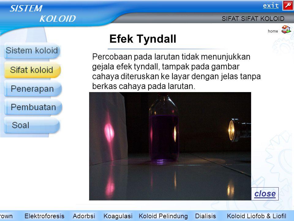 Efek Tyndall SIFAT SIFAT KOLOID Koloid Liofob & LiofilDialisisKoloid PelindungKoagulasiAdorbsiElektroforesisGerak BrownEfek Tyndall home Percobaan pad