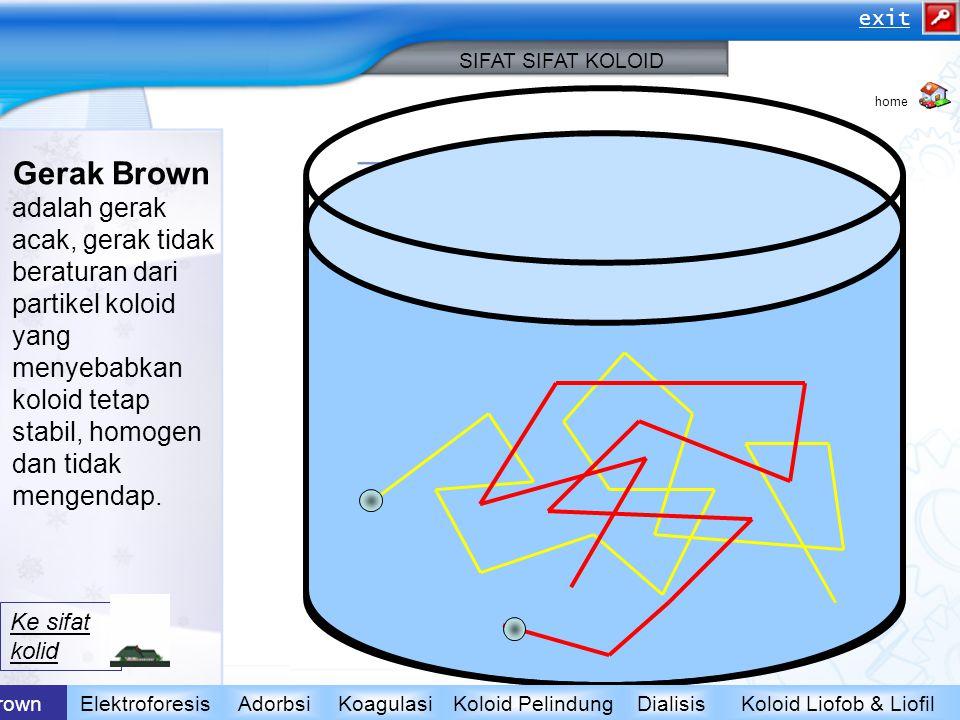Gerak Brown adalah gerak acak, gerak tidak beraturan dari partikel koloid yang menyebabkan koloid tetap stabil, homogen dan tidak mengendap. Koloid Li