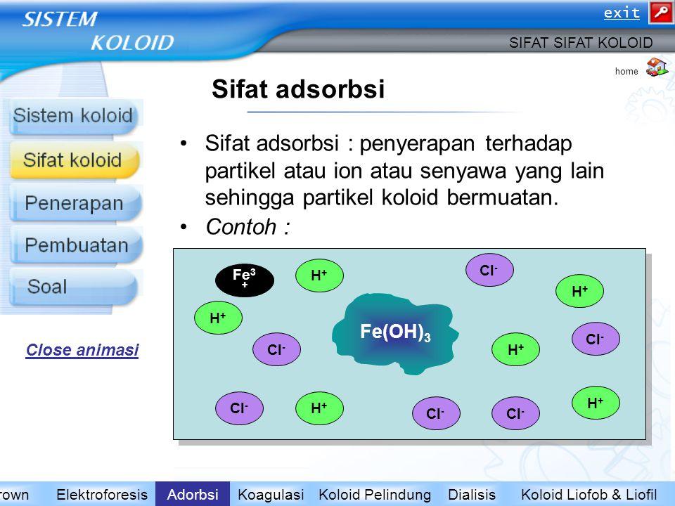 Sifat adsorbsi Sifat adsorbsi : penyerapan terhadap partikel atau ion atau senyawa yang lain sehingga partikel koloid bermuatan. Contoh : (i) Koloid F