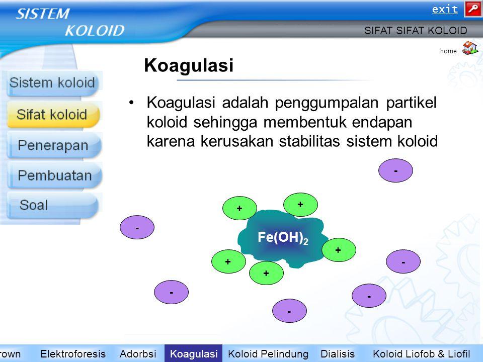 Koagulasi Koagulasi adalah penggumpalan partikel koloid sehingga membentuk endapan karena kerusakan stabilitas sistem koloid Koloid Liofob & LiofilDia