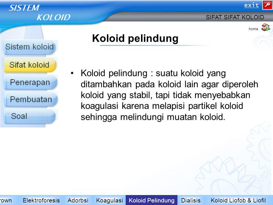 Koloid pelindung Koloid pelindung : suatu koloid yang ditambahkan pada koloid lain agar diperoleh koloid yang stabil, tapi tidak menyebabkan koagulasi