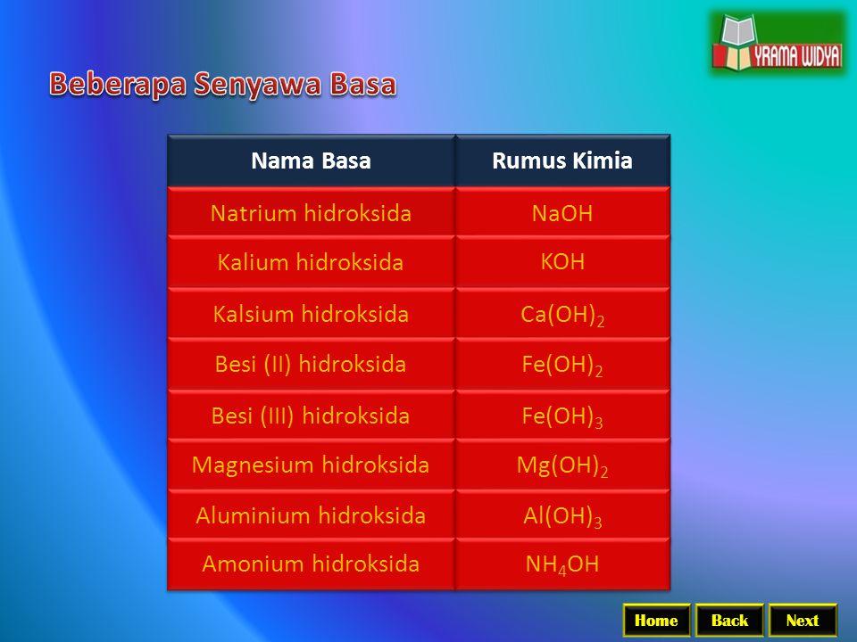 BackNextHome Nama Basa Rumus Kimia Natrium hidroksida NaOH Kalium hidroksida KOH Kalsium hidroksida Ca(OH) 2 Besi (II) hidroksida Fe(OH) 2 Besi (III)