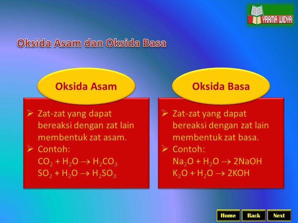 BackNextHome  Zat-zat yang dapat bereaksi dengan zat lain membentuk zat asam.  Contoh: CO 2 + H 2 O  H 2 CO 3 SO 2 + H 2 O  H 2 SO 3  Zat-zat yan