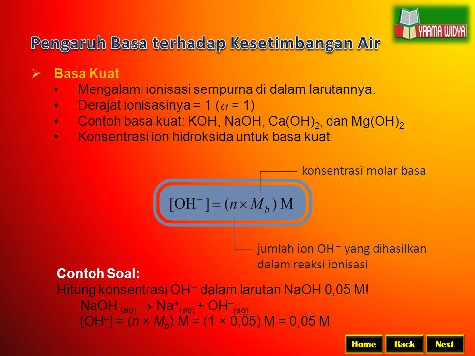 BackNextHome  Basa Kuat Mengalami ionisasi sempurna di dalam larutannya. Derajat ionisasinya = 1 (  = 1) Contoh basa kuat: KOH, NaOH, Ca(OH) 2, dan