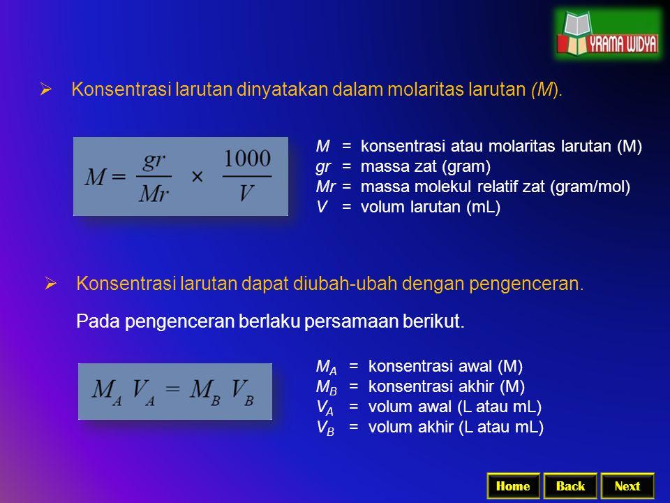 BackNextHome  Konsentrasi larutan dapat diubah-ubah dengan pengenceran. M A = konsentrasi awal (M) M B =konsentrasi akhir (M) V A =volum awal (L atau