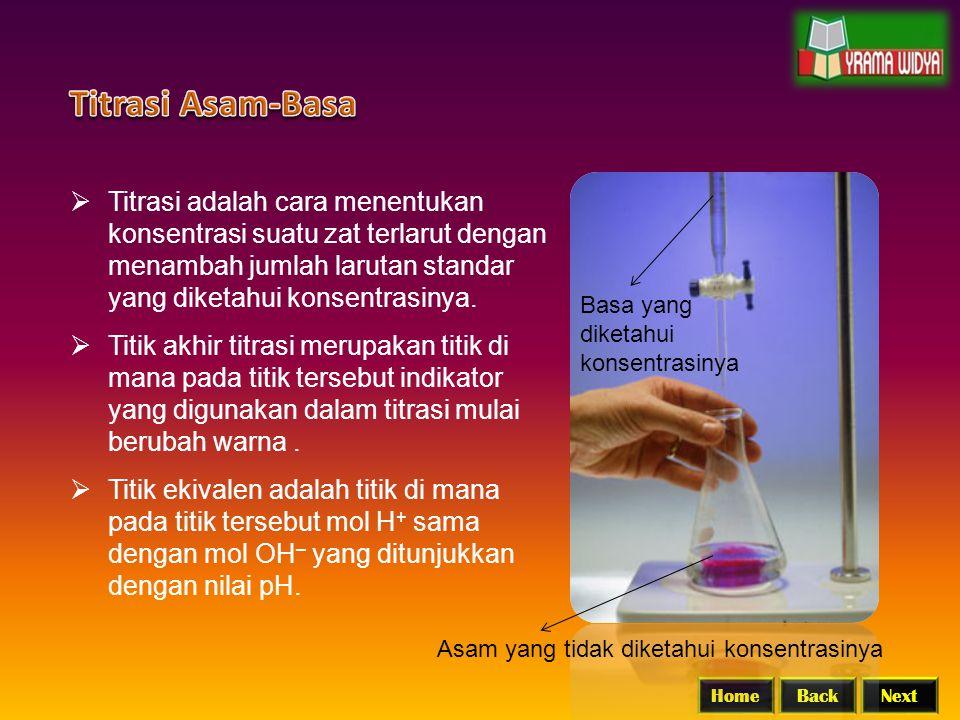 BackNextHome  Titrasi adalah cara menentukan konsentrasi suatu zat terlarut dengan menambah jumlah larutan standar yang diketahui konsentrasinya.  T