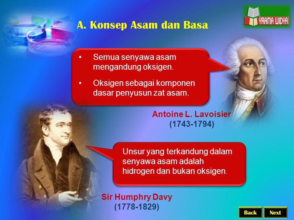 BackNext Antoine L. Lavoisier (1743-1794) Semua senyawa asam mengandung oksigen. Oksigen sebagai komponen dasar penyusun zat asam. Sir Humphry Davy (1