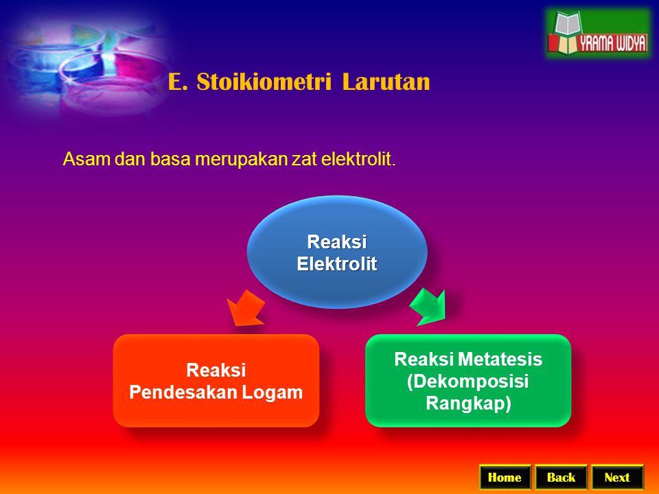BackNextHome E. Stoikiometri Larutan Asam dan basa merupakan zat elektrolit. Reaksi Elektrolit Reaksi Pendesakan Logam Reaksi Pendesakan Logam Reaksi