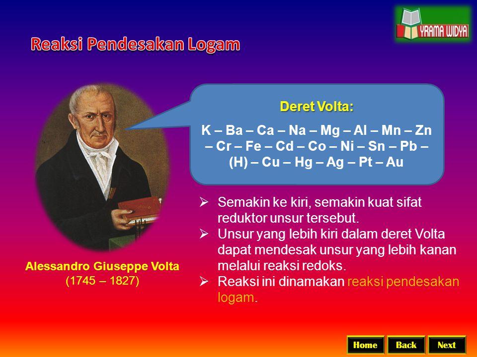 BackNextHome Alessandro Giuseppe Volta (1745 – 1827) Deret Volta: K – Ba – Ca – Na – Mg – Al – Mn – Zn – Cr – Fe – Cd – Co – Ni – Sn – Pb – (H) – Cu –