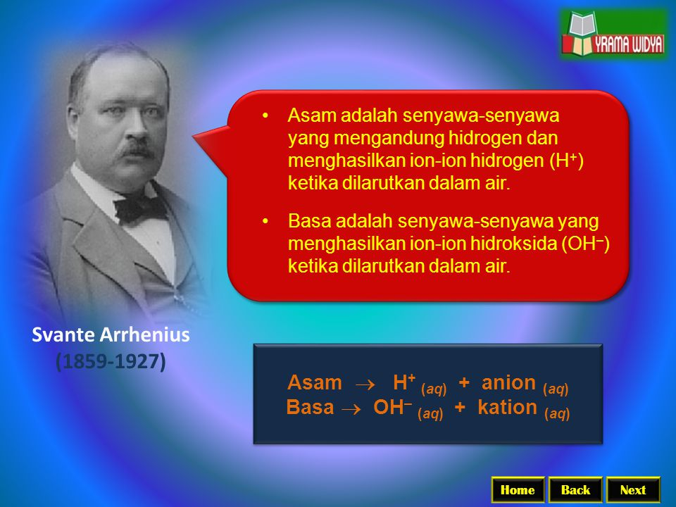 BackNextHome Svante Arrhenius (1859-1927) Asam adalah senyawa-senyawa yang mengandung hidrogen dan menghasilkan ion-ion hidrogen (H + ) ketika dilarut