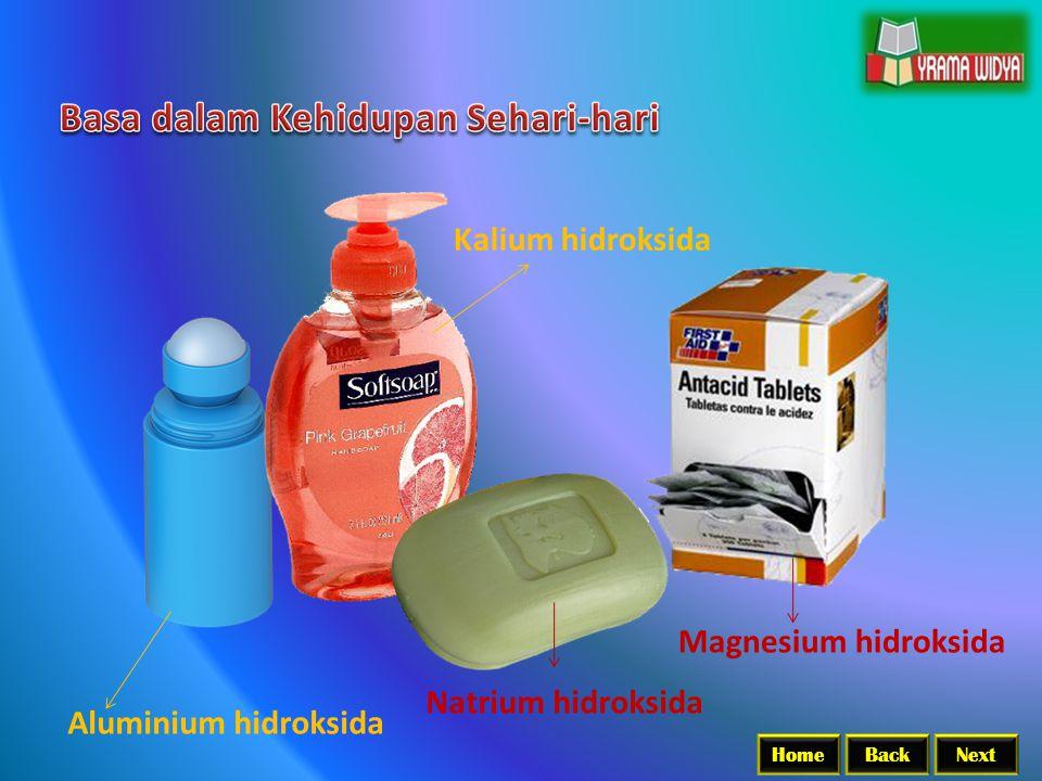 BackNextHome Nama Basa Rumus Kimia Natrium hidroksida NaOH Kalium hidroksida KOH Kalsium hidroksida Ca(OH) 2 Besi (II) hidroksida Fe(OH) 2 Besi (III) hidroksida Fe(OH) 3 Magnesium hidroksida Mg(OH) 2 Aluminium hidroksida Al(OH) 3 Amonium hidroksida NH 4 OH