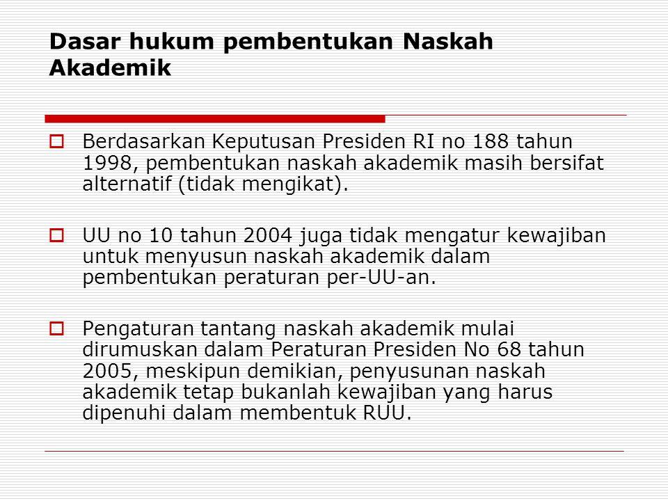 Dasar hukum pembentukan Naskah Akademik  Berdasarkan Keputusan Presiden RI no 188 tahun 1998, pembentukan naskah akademik masih bersifat alternatif (