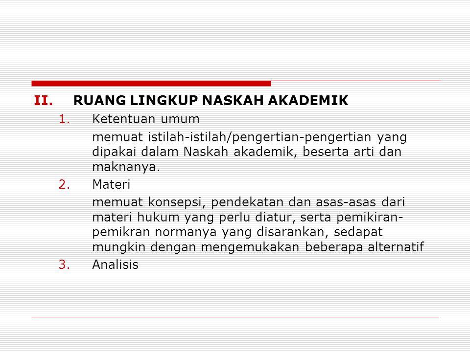 II.RUANG LINGKUP NASKAH AKADEMIK 1.Ketentuan umum memuat istilah-istilah/pengertian-pengertian yang dipakai dalam Naskah akademik, beserta arti dan ma