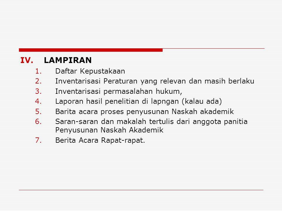 IV.LAMPIRAN 1.Daftar Kepustakaan 2.Inventarisasi Peraturan yang relevan dan masih berlaku 3.Inventarisasi permasalahan hukum, 4.Laporan hasil peneliti