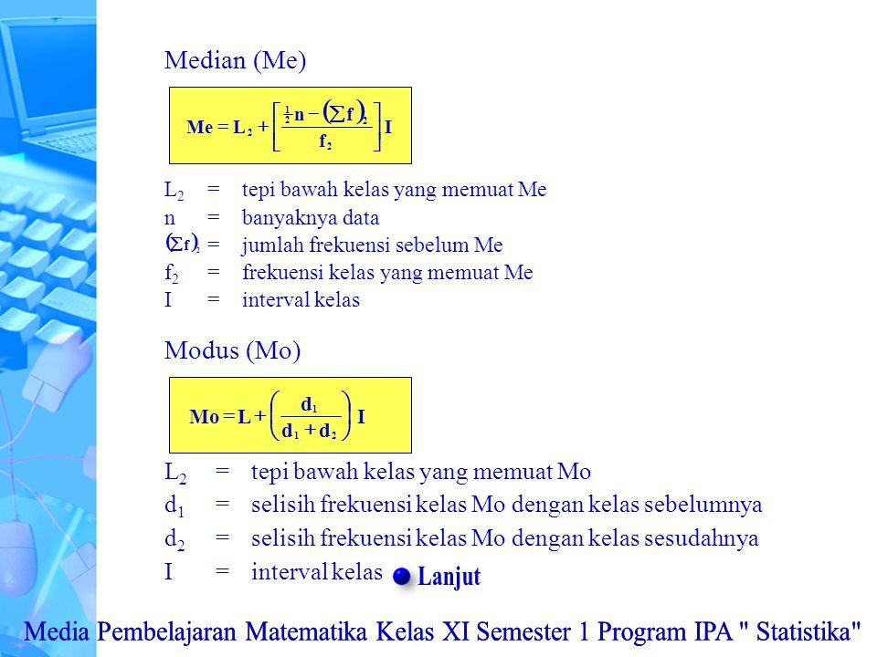 L 2 =tepi bawah kelas yang memuat Me n=banyaknya data =jumlah frekuensi sebelum Me f 2 =frekuensi kelas yang memuat Me I=interval kelas Median (Me)  I f fn LMe 2 2 2 1 2           2 f 