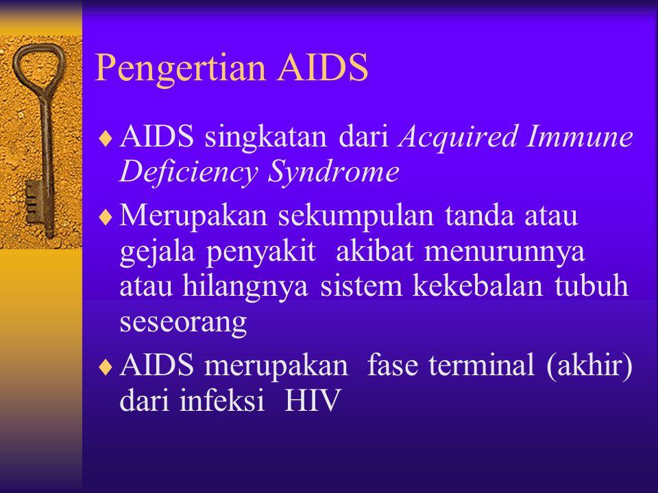 Pengertian AIDS  AIDS singkatan dari Acquired Immune Deficiency Syndrome  Merupakan sekumpulan tanda atau gejala penyakit akibat menurunnya atau hilangnya sistem kekebalan tubuh seseorang  AIDS merupakan fase terminal (akhir) dari infeksi HIV