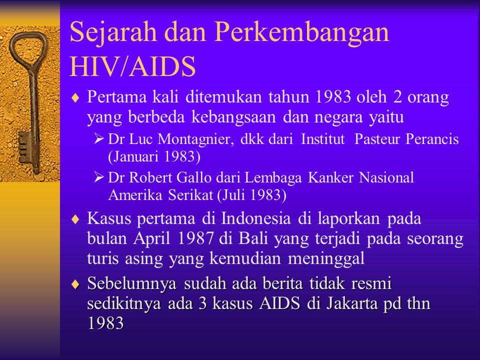 Sejarah dan Perkembangan HIV/AIDS  Pertama kali ditemukan tahun 1983 oleh 2 orang yang berbeda kebangsaan dan negara yaitu  Dr Luc Montagnier, dkk dari Institut Pasteur Perancis (Januari 1983)  Dr Robert Gallo dari Lembaga Kanker Nasional Amerika Serikat (Juli 1983)  Kasus pertama di Indonesia di laporkan pada bulan April 1987 di Bali yang terjadi pada seorang turis asing yang kemudian meninggal  Sebelumnya sudah ada berita tidak resmi sedikitnya ada 3 kasus AIDS di Jakarta pd thn 1983
