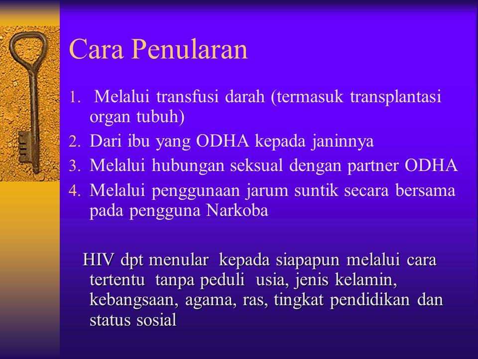 Cara Penularan 1.Melalui transfusi darah (termasuk transplantasi organ tubuh) 2.