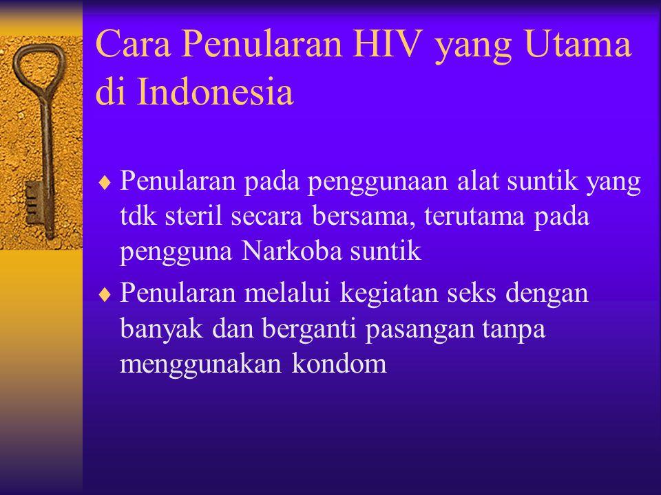 Cara Penularan HIV yang Utama di Indonesia  Penularan pada penggunaan alat suntik yang tdk steril secara bersama, terutama pada pengguna Narkoba suntik  Penularan melalui kegiatan seks dengan banyak dan berganti pasangan tanpa menggunakan kondom