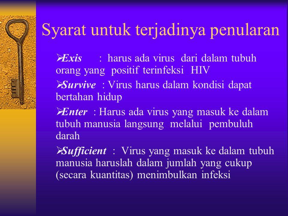 Cara Penularan HIV yang Utama di Indonesia  Penularan pada penggunaan alat suntik yang tdk steril secara bersama, terutama pada pengguna Narkoba sunt