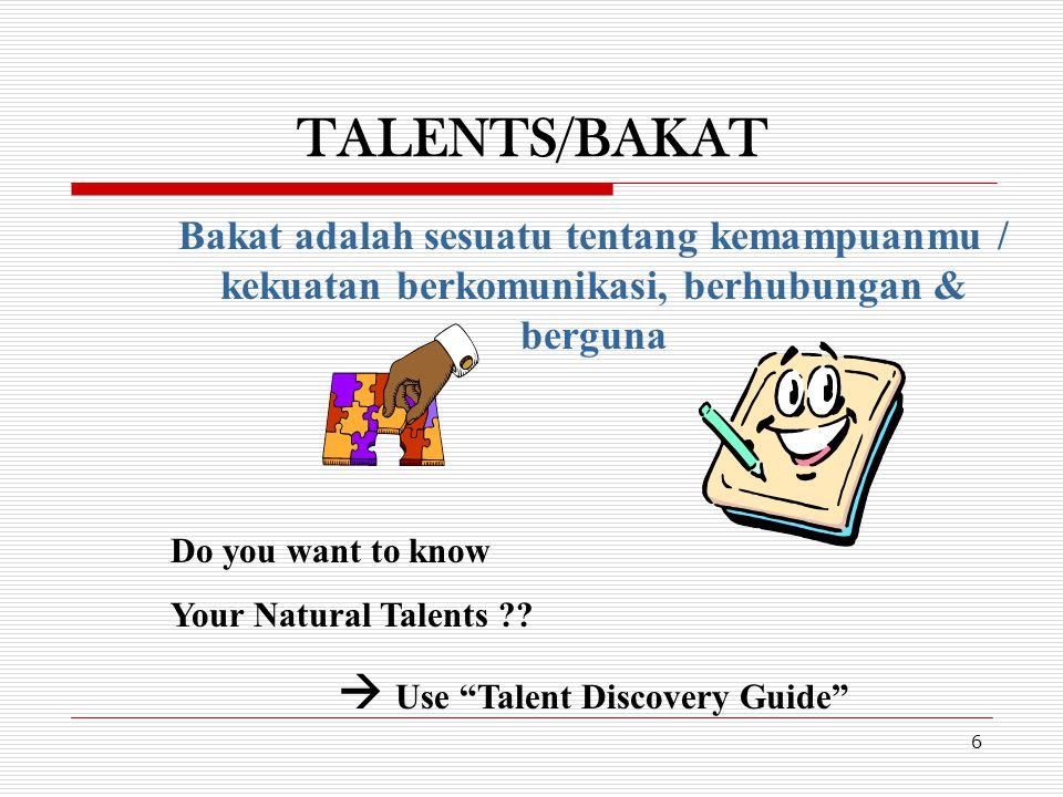 TALENTS/BAKAT 6 Bakat adalah sesuatu tentang kemampuanmu / kekuatan berkomunikasi, berhubungan & berguna Do you want to know Your Natural Talents ?? 