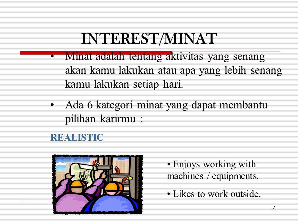 INTEREST/MINAT 7 Minat adalah tentang aktivitas yang senang akan kamu lakukan atau apa yang lebih senang kamu lakukan setiap hari. Ada 6 kategori mina