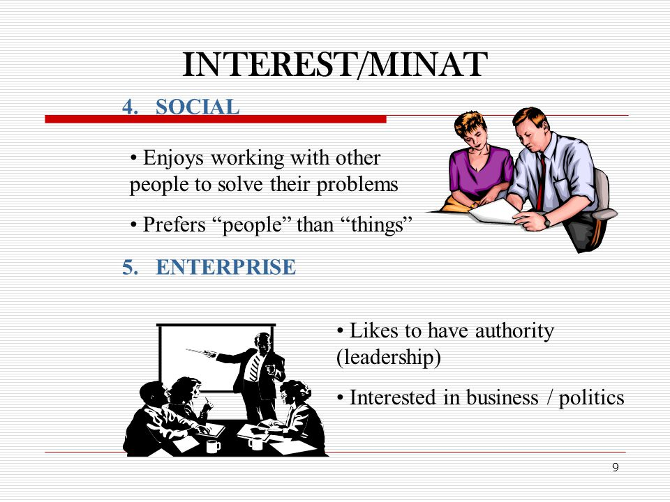 INTEREST/MINAT 9 4.SOCIAL 5.ENTERPRISE Enjoys working with other people to solve their problems Prefers people than things Likes to have authority (leadership) Interested in business / politics