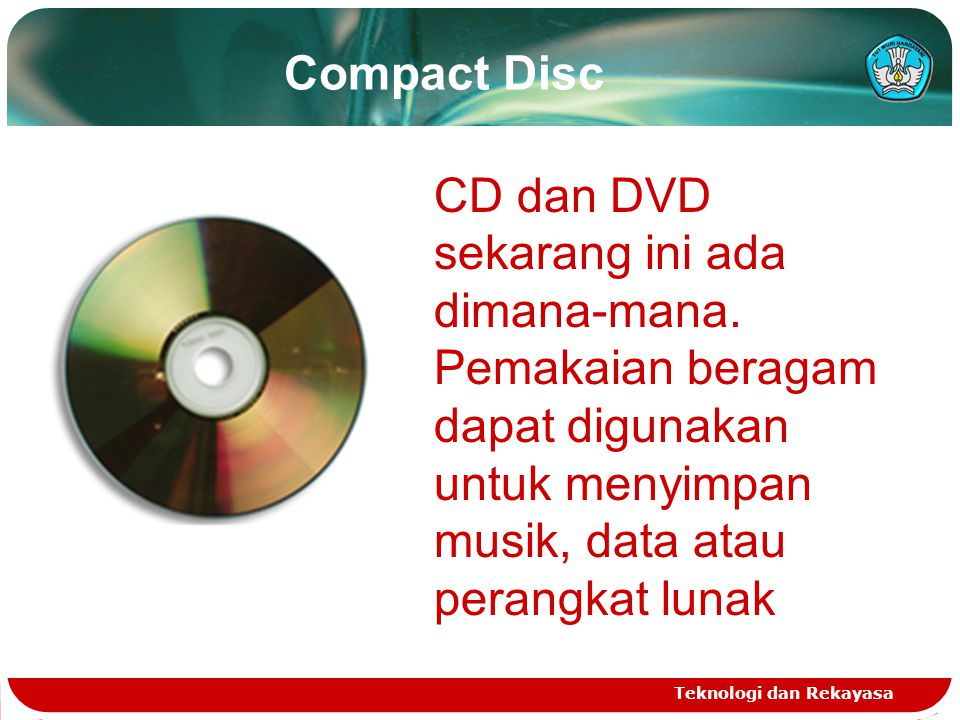 Lintasan Spiral Dalam Compact Disc Teknologi dan Rekayasa Track pada data CD mempunyai lintasan spiral tunggal, melingkar dengan arah dari dalam keluar CD