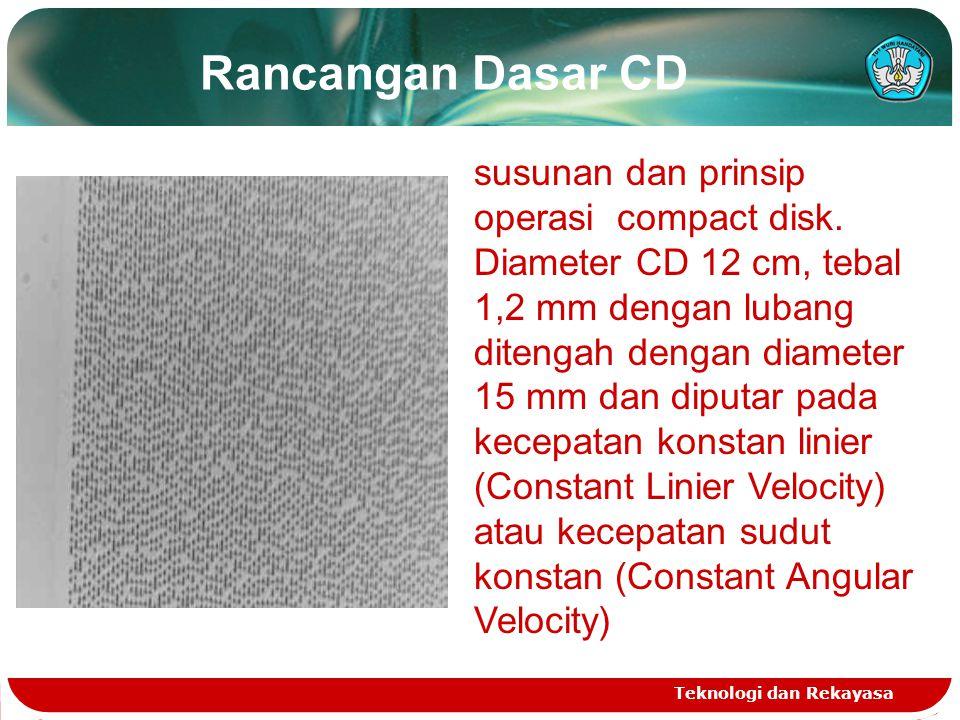 Rancangan Dasar CD Teknologi dan Rekayasa susunan dan prinsip operasi compact disk. Diameter CD 12 cm, tebal 1,2 mm dengan lubang ditengah dengan diam