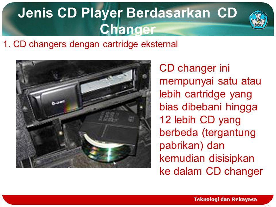 Jenis CD Player Berdasarkan CD Changer Teknologi dan Rekayasa 1.CD changers dengan cartridge eksternal CD changer ini mempunyai satu atau lebih cartridge yang bias dibebani hingga 12 lebih CD yang berbeda (tergantung pabrikan) dan kemudian disisipkan ke dalam CD changer