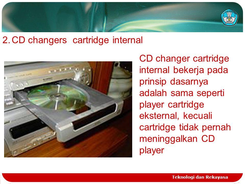 Teknologi dan Rekayasa 2.CD changers cartridge internal CD changer cartridge internal bekerja pada prinsip dasarnya adalah sama seperti player cartridge eksternal, kecuali cartridge tidak pernah meninggalkan CD player