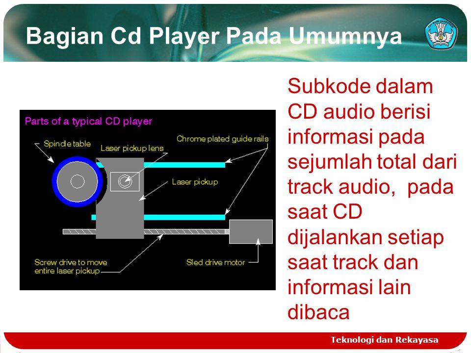 Bagian Cd Player Pada Umumnya Teknologi dan Rekayasa Subkode dalam CD audio berisi informasi pada sejumlah total dari track audio, pada saat CD dijala