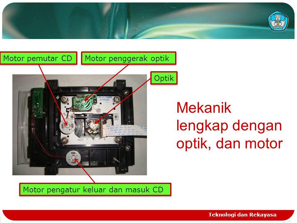 Teknologi dan Rekayasa Mekanik lengkap dengan optik, dan motor Motor pengatur keluar dan masuk CD Motor pemutar CD Motor penggerak optik Optik