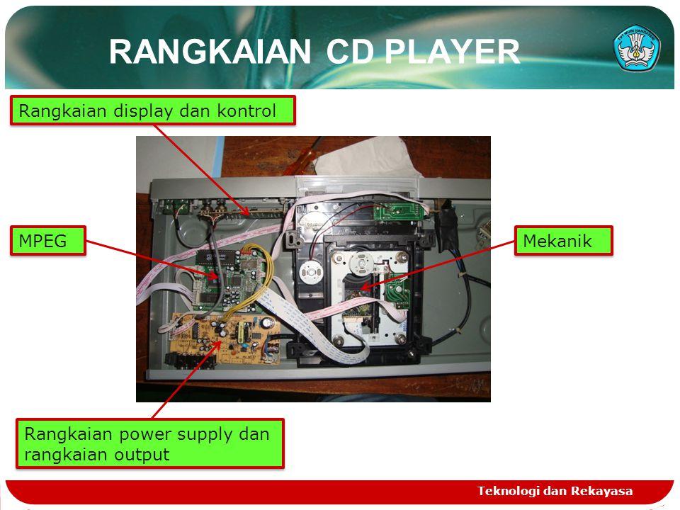 RANGKAIAN CD PLAYER Teknologi dan Rekayasa Rangkaian power supply dan rangkaian output Rangkaian display dan kontrol MPEG Mekanik