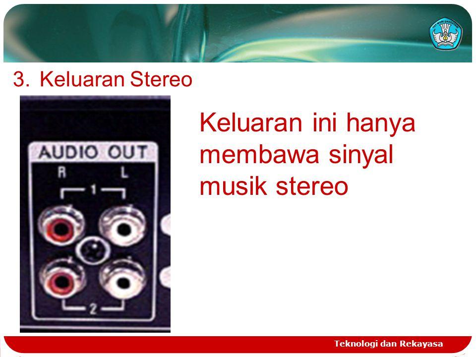 Teknologi dan Rekayasa 3.Keluaran Stereo Keluaran ini hanya membawa sinyal musik stereo
