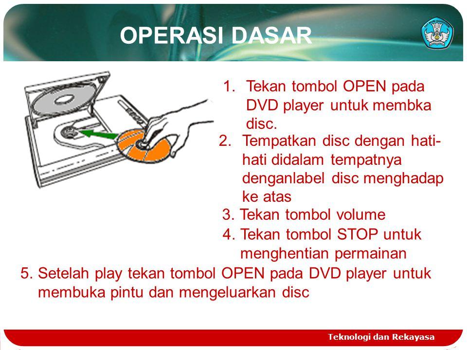 OPERASI DASAR Teknologi dan Rekayasa 1.Tekan tombol OPEN pada DVD player untuk membka disc. 2.Tempatkan disc dengan hati- hati didalam tempatnya denga