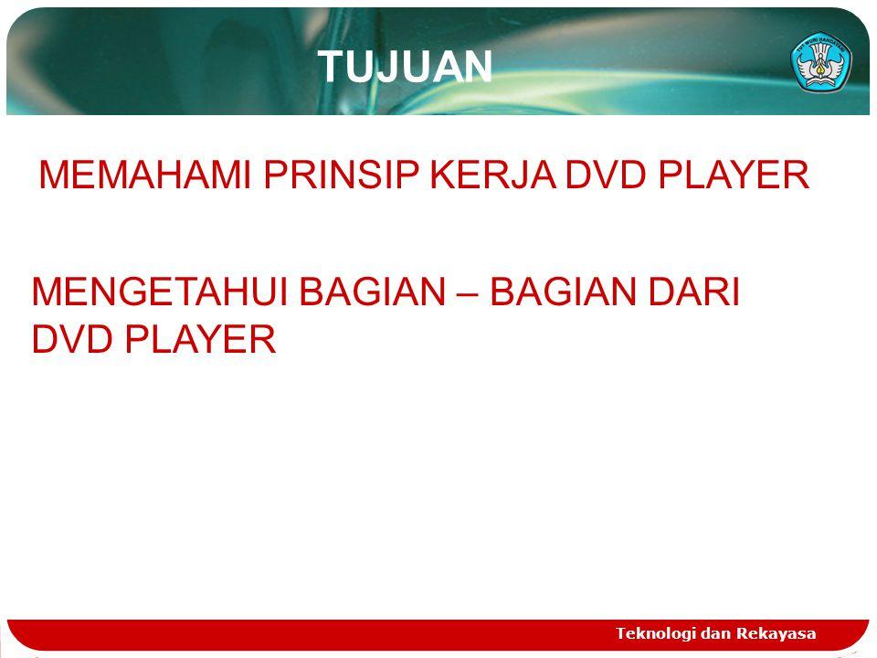 Teknologi dan Rekayasa TUJUAN MEMAHAMI PRINSIP KERJA DVD PLAYER MENGETAHUI BAGIAN – BAGIAN DARI DVD PLAYER