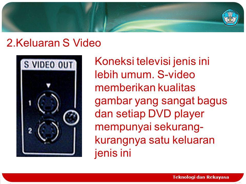 Teknologi dan Rekayasa 2.Keluaran S Video Koneksi televisi jenis ini lebih umum. S-video memberikan kualitas gambar yang sangat bagus dan setiap DVD p
