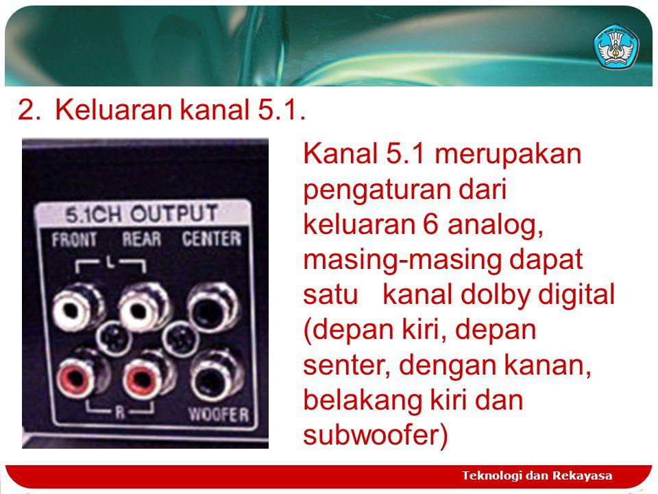 Teknologi dan Rekayasa 2.Keluaran kanal 5.1. Kanal 5.1 merupakan pengaturan dari keluaran 6 analog, masing-masing dapat satu kanal dolby digital (depa