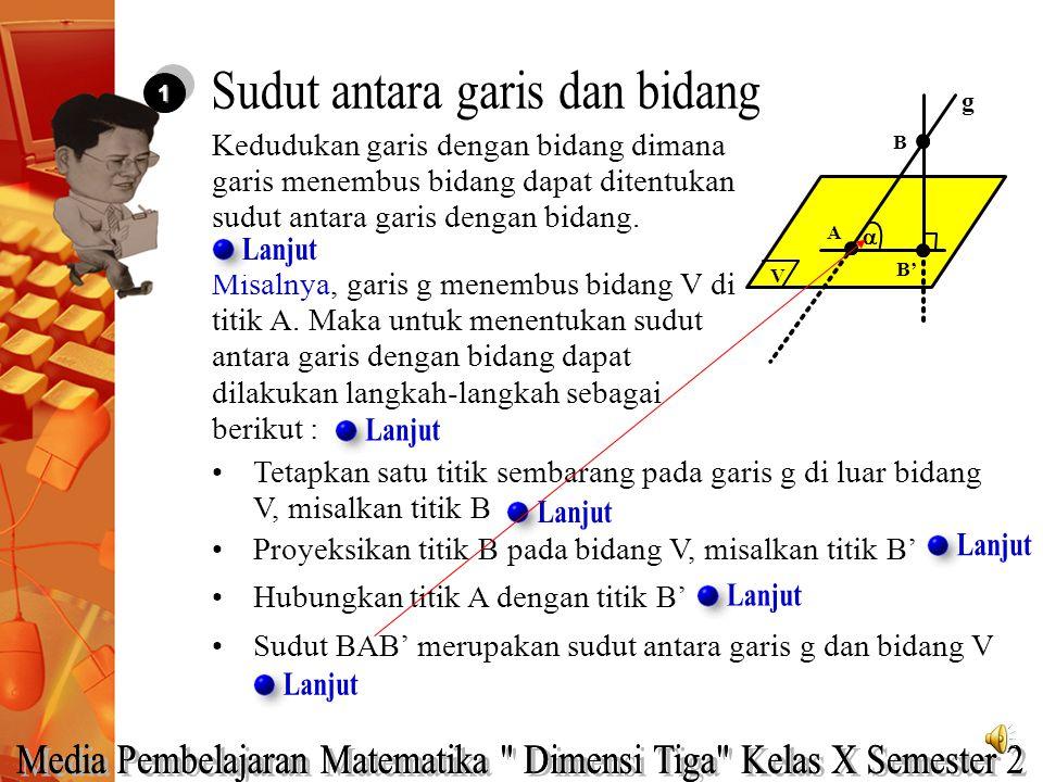 Hubungkan titik A dengan titik B' 11 Kedudukan garis dengan bidang dimana garis menembus bidang dapat ditentukan sudut antara garis dengan bidang. Tet